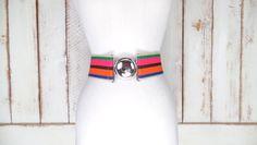 90s green/pink/orange striped wide stretch silver buckle belt/statement cinching belt/wide elastic belt by GreenCanyonTradingCo on Etsy