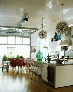 kitchen, dining, clean, eclectic, demijohn, glass garage door, modern, fun