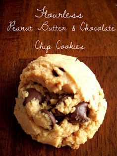 Flourless PB & Chocolate Chip Cookies. These are the best peanut butter cookies - better than any other recipe I've tried. Perfect yummy chewy texture and delicious. @Jennie Albee