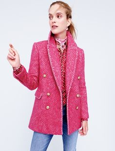 J. Crew Diamond Tweed Coat in Sorbet Ivory, Collection Pajama Top in Ratti Hibiscus Herringbone Print, Drakes for J. Crew Square Silk Scarf and Matchstick Jean in Stockdale Wash