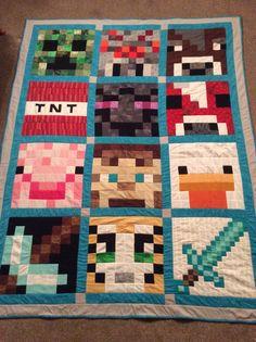 Minecraft quilt made for my grandson Minecraft Blanket, Minecraft Quilt, Minecraft Pattern, Minecraft Party, Minecraft Awesome, Minecraft Room, Minecraft Crafts, Minecraft Furniture, Minecraft Skins