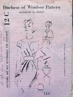 Vintage Duchess of Windsor Sewing Pattern Spadea Bombshell Dress 12C 1960 Sz 10