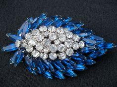 Vintage Juliana Sapphire Cobalt DeLizza & Elster Brooch//Blue Navettes Sparkling Rhinestone Cluster//Crown Jewels. $55.00, via Etsy.
