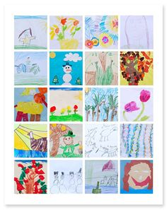 Photograph your children's art work & frame into a collage.