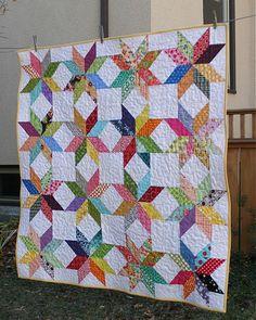 Great quilt idea for fabric scraps.
