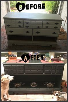 Cat Food Station Dresser to dog food station! Pet Station, Dog Feeding Station, Food Dog, Cat Food, Dog Food Recipes, Animal Room, Diy Pet, Dog Organization, Dog Furniture
