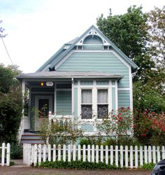 Blue aqua Victorian cottage