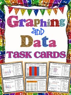 Graphing and Data Task Cards { Interpret Graphs & Data }. A set of 18 half-page task cards with 4 question prompts on each card! Types of graphs include:  Bar Graphs Double Bar Graphs Line Graphs Double Line Graphs Pictographs Pie Graph (Circle Graph) Line Plot  2 Interpreting data chart cards 2 Generate a graph cards $