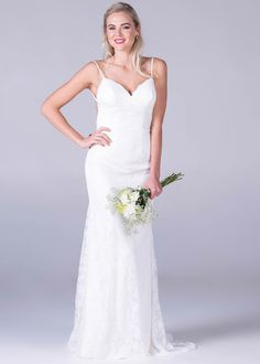 Bride&co wedding dress, all over lace low back dress