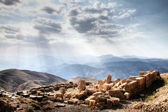 Mount Nemrut - West Terrace. Turkey. Over 2,000 years ago, the tomb of Antiochus I was built up here at 7,000ft, alongside large stone incarnations of various Persian and Greek gods and animals.