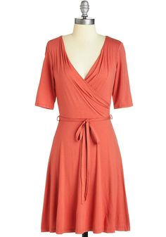 Easygoing Inspiration Dress in Coral. In this coral dress, you master a balanced mix of laid-back and lovely. #coral #modcloth
