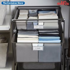 The Start-A-Stack is our most popular Elfa Drawer combination for all-purpose storage in any room of your home! It features three Medium 2-Runner Mesh Drawers, one Medium 1-Runner Mesh Drawer and Back Stop Pins. The fine weave of the mesh prevents small items from falling through. We offer a variety of Drawer Accessories that you can add to customize your solution. Closet Storage, Closet Organization, Space Saving Hangers, Weave, Purpose, Drawers, Mesh, Shelves, Graphite