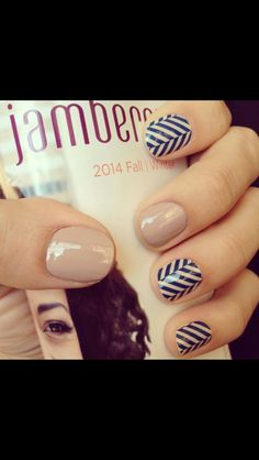 Jamberry Blue Herringbone with nude nails. Order at Jelmo.JamberryNails.net