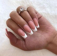 french nails with diamonds Tips - DIY French Nail Tips At Home French Gel, French Tip Acrylic Nails, French Tip Nail Designs, White Tip Nails, Long Acrylic Nails, Coffin Nails Long, Long French Tip Nails, White French Nails, Long Nail Designs
