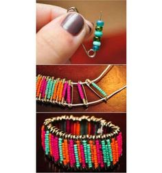 Beaded Safety Pin Bracelet DIY Beaded Bracelets You Bead Crafts Lovers Should Be Making Diy Bracelets How To Make, Diy Beaded Bracelets, Easy Crafts To Make, Bracelet Crafts, Jewelry Crafts, Beaded Jewelry, Jewelry Ideas, Silver Jewelry, Aquamarine Jewelry