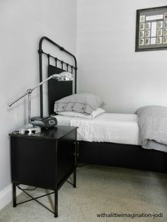 WITH A LITTLE IMAGINATION | Grey, Black & White Boys Bedroom | Wrought Iron Bed | Metal look cabinet
