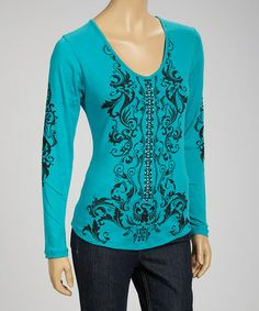 Take a look at this Jade & Black Rhinestone Long-Sleeve Top by Liberty Wear on #zulily today! $25 !!