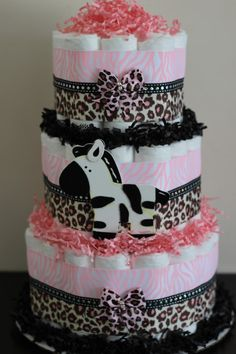 tier pink safari diaper cake baby girl jungle safari baby shower pink