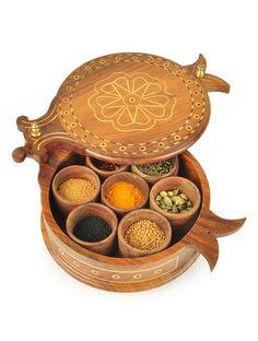 Buy tural Brown Masala Dabba Wood Bronze Online at Jaypore.com
