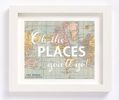 Printable - Oh, the places you'll go Dr. Seuss vintage map print for nursery kid's room baby shower new mom gift printable instant download
