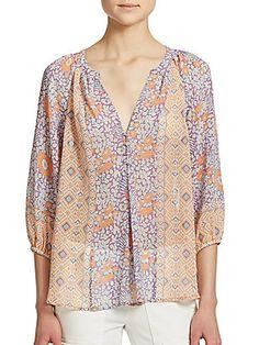 Joie Gloria Silk Floral Print Blouse