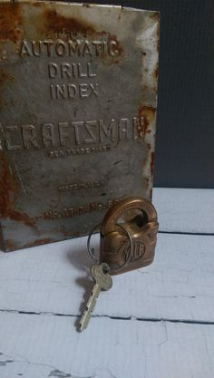 Antique Yale Bronze Padlock with Key/ Yale by VintageGlassRevival