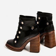 Image 4 of LEATHER HIGH HEEL ANKLE BOOTS WITH WOODEN SOLE from Zara