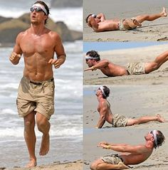 Matthew McConaughey workout 2013 on Santa Monica Beach. #celebrity diets #celebrity workout