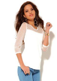 Tričko s transparentními detaily #ModinoCZ #white #whitefashion #trendy #summerfashion #style #bila #moda #whitesummer