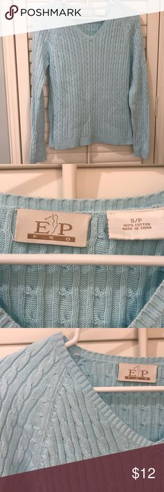EP Light Blue Ladies SM Cotton Cable Knit Sweater This EP Light Blue Ladies Size Small Cotton Cable Long Sleeve Knit Sweater is a great piece on or off the golf course. Beautiful Robin's Egg Blue color and 100% Cotton for comfort. Gently used, but still has a lot of wear left. This is a classic design that is timeless. EP Sweaters