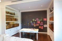 Great craft/art room with chalkboard