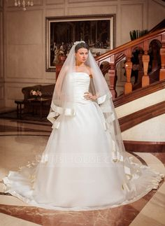 Ball-Gown Strapless Chapel Train Organza Satin Wedding Dress With Cascading Ruffles (002012025) - JJsHouse