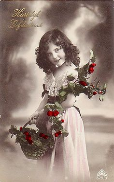 Vintage Postcard ~ Holly Girl | Flickr - Photo Sharing!