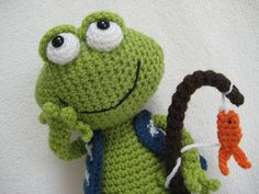 Amigurumi Frog Jimmy Toy Doll Animal Crochet by Millionbells