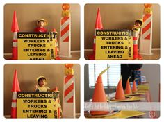 Create a construction photo booth backdrop using caution tape, cones and traffic barriers.