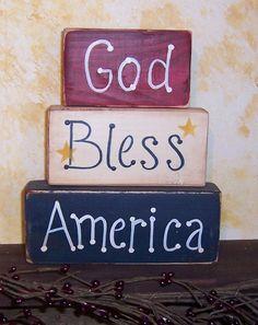 God Bless America blocks country primitive by memoriesforevervt, $9.00