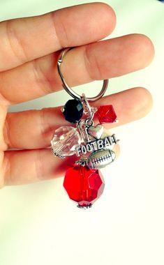 """""""I Love Football""""   Team spirit keychains  College Football  Ohio State Buckeyes  University of Utah Swoop Hawk"""
