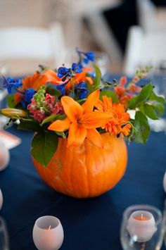 Fall is here, and we are loving this idea for a seasonal centerpiece!