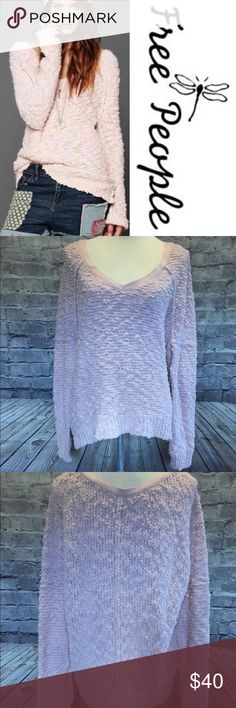 """Free People Songbird Sweater Pink Free People Pink Chunky Sheer """"Songbird"""" Sweater Size Large A chunky yet sheer bouclé knit fashions a slouchy sweater styled with raglan sleeves and a wide V-neckline. Exposed seams further define the relaxed shape and casual vibe.  Approx. length from shoulder: 26 1/2"""". Sheer; base layer recommended. 98% cotton, 2% other. Dry clean or hand wash cold, lay flat to dry. Free People Sweaters V-Necks"""