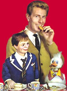"""Tich & Quackers. Already famous for his ventriloquial figure, """"Lord Charles"""", Ray Alan introduced these new characters """"Tich & Quackers"""" for a much-loved Children's TV series of the 1960s.  Quackers the Duck was operated by Tony Hart of """"Vision On"""" fame.  The puppets were made by the brilliant sculptor and leading British ventriloquist puppet-maker, Leonard Insull (1883 - 1974).  The original Tich & Quackers are now on display as part of the Len Insull Exhibition at Bantock House, near…"""