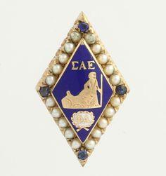 Sigma Alpha Epsilon Fraternity Badge Pin - 10k Yellow Gold Sapphire & Seed Pearl  $189.99