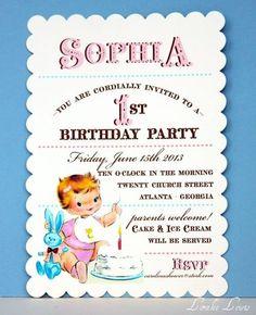1st birthday invitation - vintage girl.