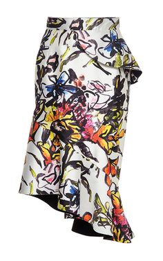 Silk cotton floral print skirt by OSCAR DE LA RENTA Now Available on Moda Operandi