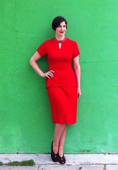 Vintage 1940s Red Peplum & Beaded Neckline by adelinesattic, $228.00