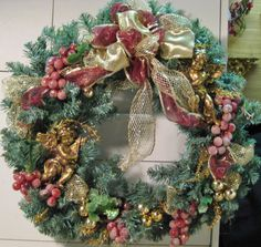 VICTORIAN CHRISTMAS wreath with golden cherubs in by ANGELFARE, $36.00