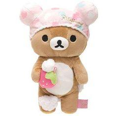 Rilakkuma brown plush bear with pink bathing cap foam