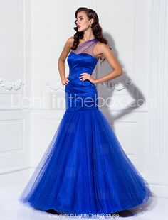 Prom/Military Ball/Formal Evening Dress - Royal Blue Plus Sizes Trumpet/Mermaid One Shoulder Floor-length Stretch Satin/Tulle 2015 – $79.99