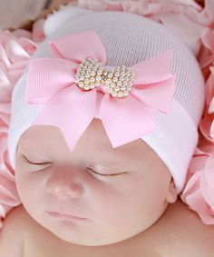 Lil Miss Sweet Pea White & Pink Bow Newborn Beanie Newborn Beanie, Baby Turban, Diy Bow, Diy Ribbon, Tiny Blessings, Miss Sweet, Somebunny Loves You, Foto Baby, Newborn Photo Props