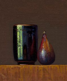 """""""Fig and Reflections in a Japanese Cup"""" painting by Abbey Ryan #Realism"""