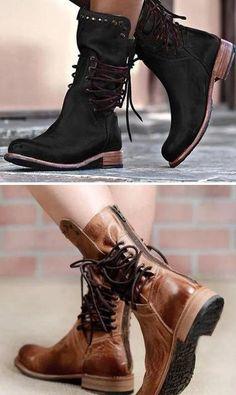760cbf8abf40 Black Vintage Bootsies Lace-Up Knight Mid-calf Boots